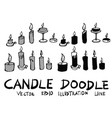 hand drawn candle isolated sketch black and white vector image vector image
