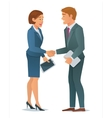 Handshake business woman and business man vector image vector image