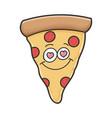 happy in love slice pizza cartoon vector image