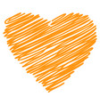 heart orange hand drawn sketch vector image vector image