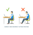 incorrect and correct sitting position card vector image vector image