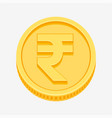indian rupees symbol on gold coin vector image