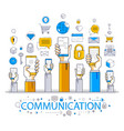 internet communication and activity people hands vector image vector image