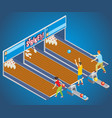 isometric bowling game concept vector image vector image