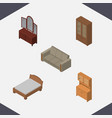 isometric design set of drawer couch cabinet and vector image vector image
