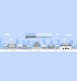 korea travel landmarks template horiozntal banner vector image