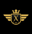 letter x shield wing vector image vector image