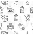line art icon seamless pattern for moving thin vector image