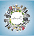 marseille france city skyline with gray buildings vector image vector image