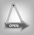 open sign pencil sketch vector image vector image