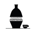 pitcher and cup black silhouette vector image
