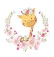 postcard poster cute little giraffe in a wreath vector image vector image