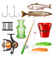realistic fishing gear set vector image