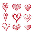 Red art heart shape hand drawn icon isolated set
