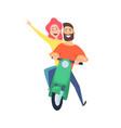 scooter ride happy woman man riders cute cartoon vector image vector image