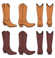 set of color with cowboy boots vector image