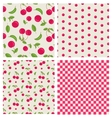 Set seamless cherry pattern vector image