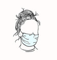 sketch girl portrait with no face in medical vector image