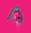 skull with axes mascot logo design template vector image