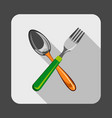 spoon fork concept background cartoon style vector image vector image