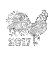 Stylish cock or rooster and number 2017 vector image vector image