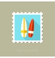 Surfboard flat stamp with long shadow vector image vector image