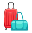 travel suitcase and bag vector image vector image