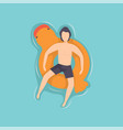 young man floating on inflatable ring in the shape vector image
