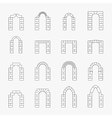 Black icons of arch silhouette vector image