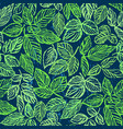 ink hand drawn green foliage seamless pattern vector image