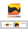Abstract orange cube logo vector image vector image