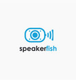 abstract sound wave speaker fish logo icon vector image vector image