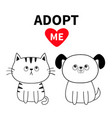 adopt me contour sitting dog cat silhouette set vector image vector image