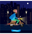 At night on a scooter vector image
