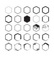 black hexagon styled borders emblems set on white vector image vector image