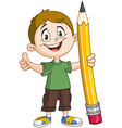 boy holding pig pencil vector image vector image