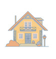 brick cosy cottage house with a balcony attic and vector image
