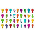 bulb icon set color outline style vector image vector image