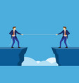 businessmen pull the rope at edge of cliff vector image