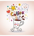 Cartoon coffee cup cute character vector image vector image