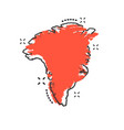 cartoon greenland map icon in comic style vector image
