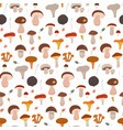 colorful autumn mushrooms seamless pattern forest vector image