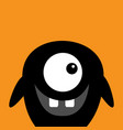 cute black silhouette monster face icon happy