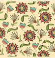 doodle seamless pattern with flowers and leafs vector image vector image