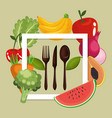 fruits and vegetables healthy food vector image