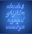 glowing blue neon lowercase script font vector image vector image