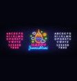 happy janmashtami greeting card neon design vector image