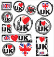 I love UK ink rubber stamp set vector image