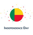 independence day of benin patriotic banner vector image vector image