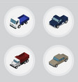 isometric automobile set of lorry suv auto and vector image vector image